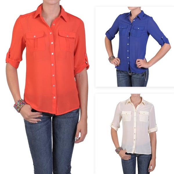 T by Hailey Jeans Co. Women's Lightweight Button-up Pleated Blouse