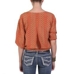 T by Hailey Jeans Co. Women's Scoop Neck Tie Front Aztec Print Top