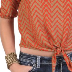 T by Hailey Jeans Co. Women's Scoop Neck Tie Front Aztec Print Top