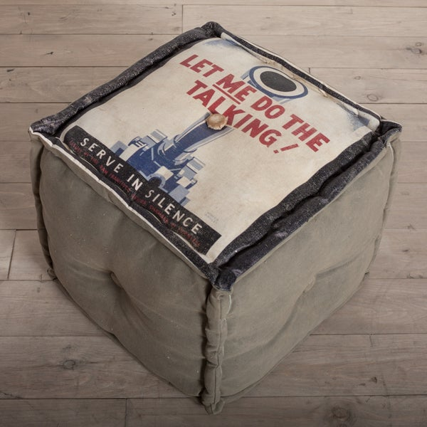 Handmade 'Let Me Do The Talking' Canvas Pouf (India)