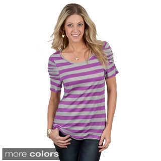 Tressa Designs Women's Contemporary Plus Striped Ruched Sleeve Tee