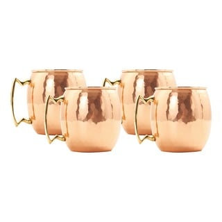 Old Dutch Solid Copper 24 oz. Nickel Lined Hammered Moscow Mule Mugs (Set of 4)