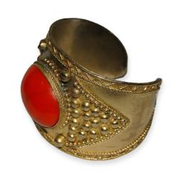 Handmade Faux Coral and Brass Cuff (India)