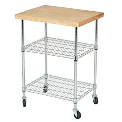 Solid Maple Butcher Block Gourmet Cart