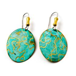 Oval Brass Earrings with Surgical Steel Hooks (Brazil)