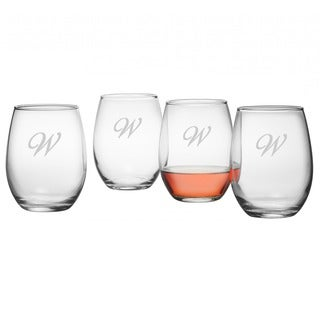 Monogrammed Stemless Wine, Set of 4