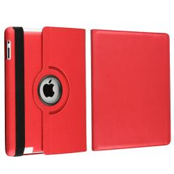 Red Swivel Leather Case/ Anti-glare Screen Protector for Apple� iPad 3