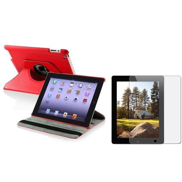 INSTEN Red Swivel Leather Tablet Case Cover/ Anti-glare Screen Protector for Apple iPad 3/ 4