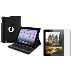 INSTEN Black Leather Tablet Case Cover/ Anti-glare screen protector for Apple iPad 3/ 4