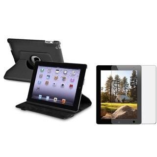 BasAcc Black Leather Case/ Anti-glare screen protector for Apple� iPad 3/ 4