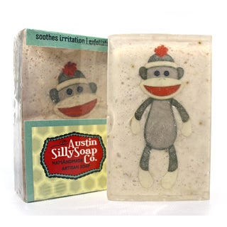 Goat Milk Oatmeal Soap | Sock Monkey & Mustache by Austin Silly Soap Pack of 3