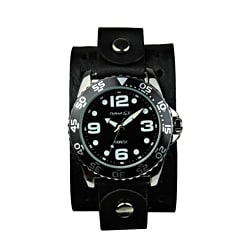 Nemesis Men's Groovy Black-Dial Leather Strap Watch