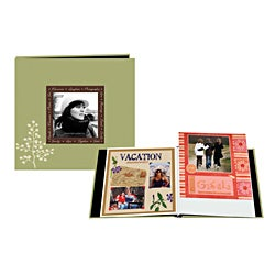 Pioneer 8 x 8 Inch Green Designer Raised Frame Scrapbook with Bonus Refill Pages