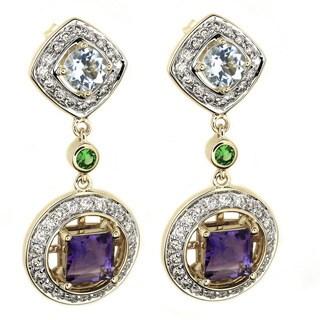 Beverly Hills Charm 14k Gold Multi-gemstones and 1ct TDW Diamonds Earrings