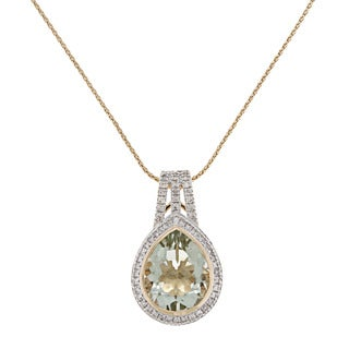 Beverly Hills Charm 14k Yellow Gold Prasiolite and 1/3ct TDW Diamond Necklace