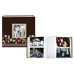 Pioneer Two-up Designer Raised Frame 4 x 6 Photo Album Set in Brown
