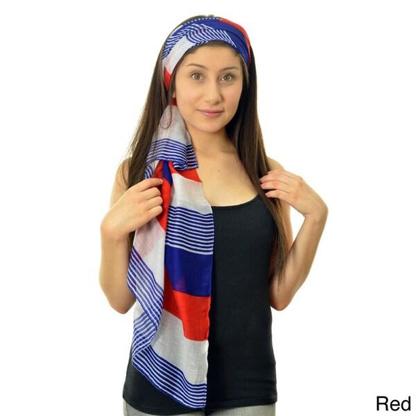 LA77 Women's Multicolor Large Stripe Scarf