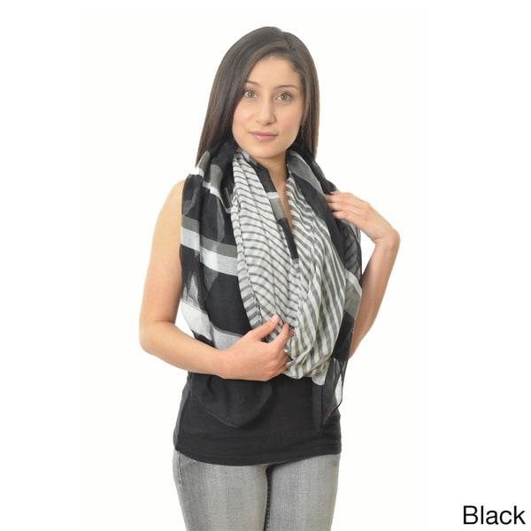 LA77 Women's Striped 74-inch Extra Long Scarf