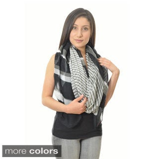 LA77 Women's Striped 74-inch Extra Long Scarf