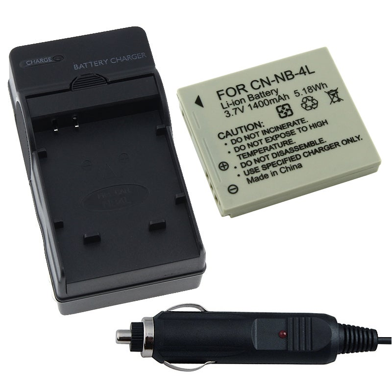 INSTEN Battery/ Charger Set for Canon PowerShot SD-750/ SD-1000/ NB-4L