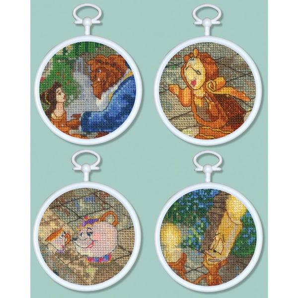 "Beauty & The Beast Mini Vignettes Counted Cross Stitch Kit-3"" Round 16 Count Set Of 4"