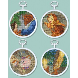 """Beauty & The Beast Mini Vignettes Counted Cross Stitch Kit-3"""" Round 16 Count Set Of 4"""