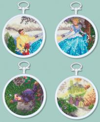 "Cinderella Mini Vignettes Counted Cross Stitch Kit-3"" Round 16 Count Set Of 4"