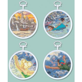 "Peter Pan Mini Vignettes Counted Cross Stitch Kit-3"" Round 16 Count Set Of 4"