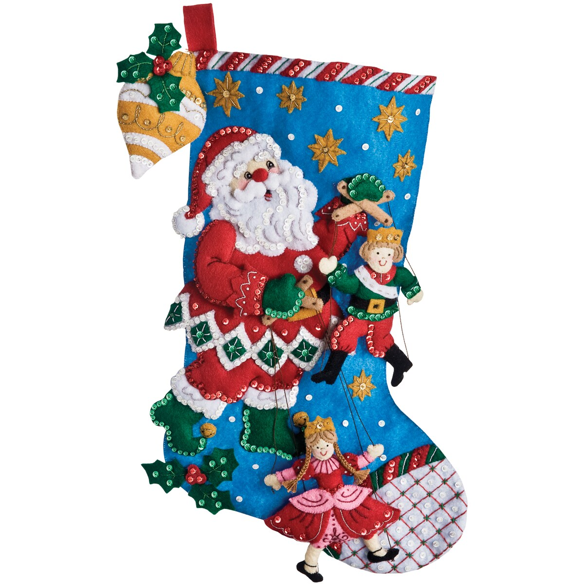 "Christmas Puppet Show Stocking Felt Applique Kit-18"" Long"