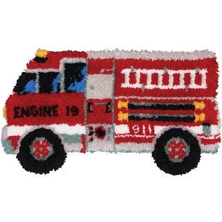 """Latch Hook Kit 32""""X17""""-Fire Truck"""