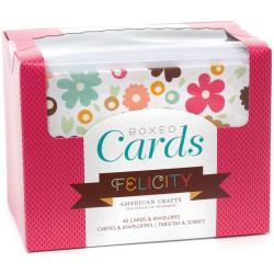 """Box Of Patterned Cards With Envelopes 4""""X6"""" 40/Pkg-Felicity"""