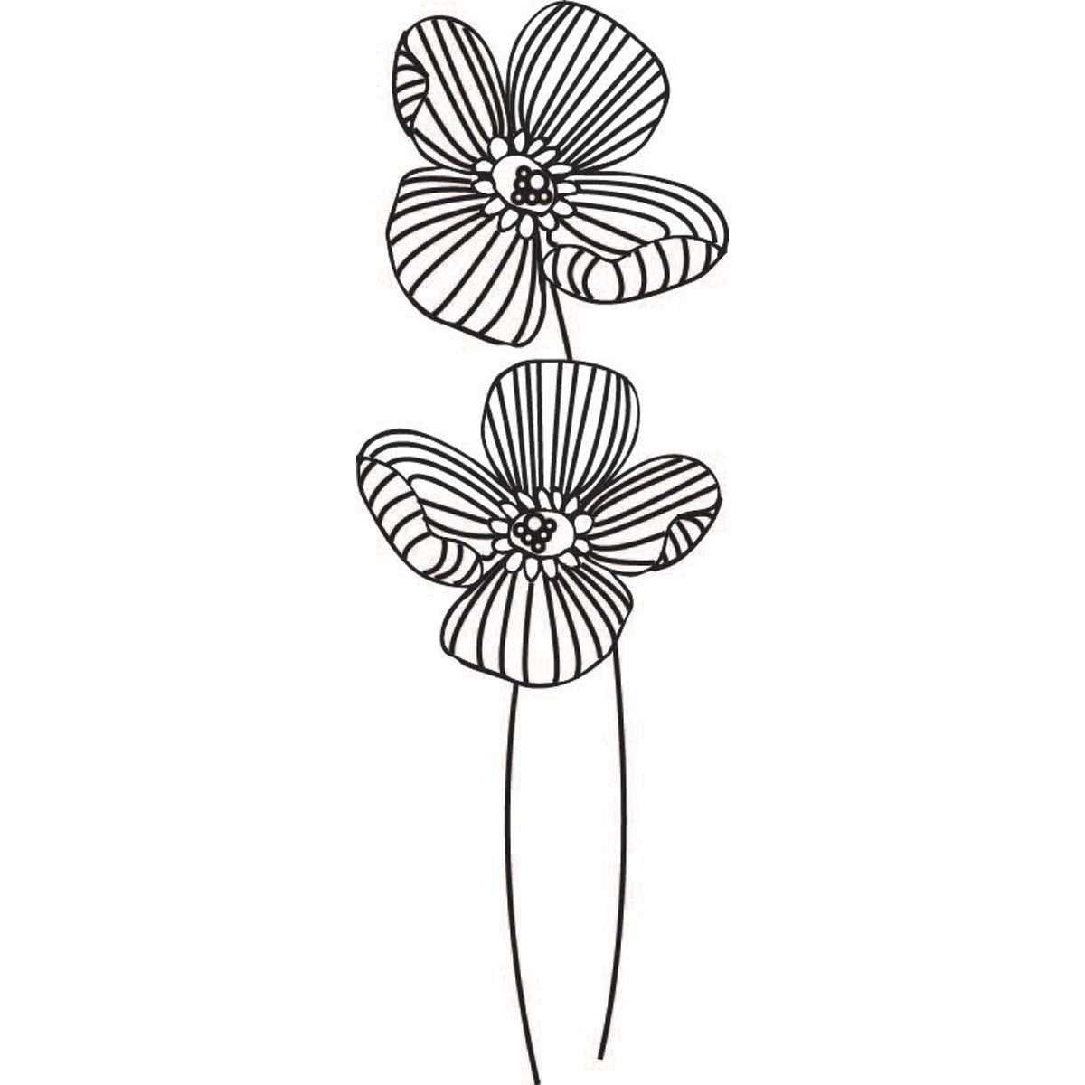 "Mounted Rubber Stamp 1.25""X3.25""-2 Flowers"