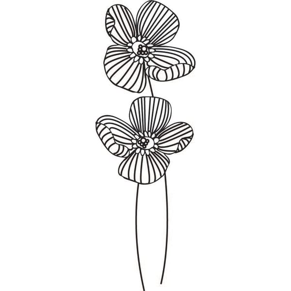"""Mounted Rubber Stamp 1.25""""X3.25""""-2 Flowers"""