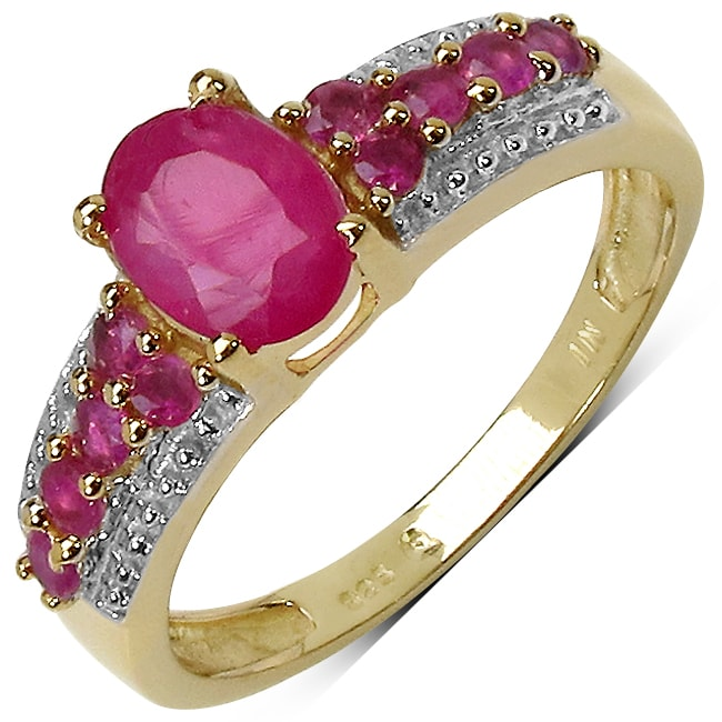Malaika 14k Yellow Gold Overlay Sterling Silver Ruby Ring