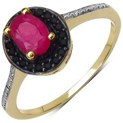 Malaika 14k Yellow Gold over Sterling Silver Ruby and Black Spinel Ring