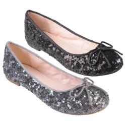Hailey Jeans Co. Women's 'Gulf' Sequined Round Toe Ballet Flats
