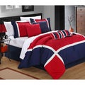 Quincy Blue/Red 8-piece Comforter Set