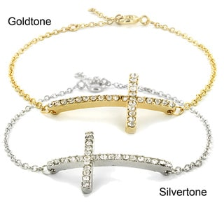 West Coast Jewelry Sparkling Sideways Cross Bracelet with Extension