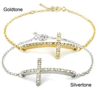 Sparkling Sideways Cross Bracelet with Extension