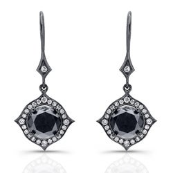 Victoria Kay 14k Black Gold 6 2/5ct TDW Black and White Diamond Halo Earrings(IJ, I1-I2)