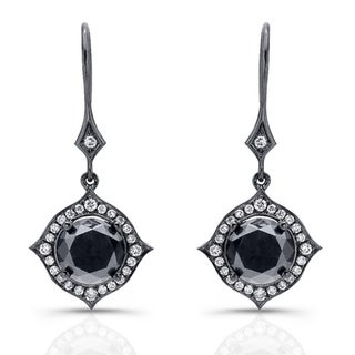 14k Black Gold 6 2/5ct TDW Black and White Diamond Halo Earrings(IJ, I1-I2)