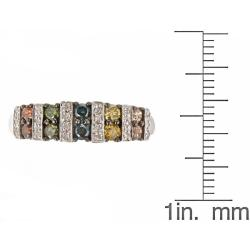 D'Yach 10k White Gold Multi-color Diamond Fashion Ring