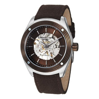 Stuhrling Original Men's Millennia Venture Automatic Brown Canvas Watch
