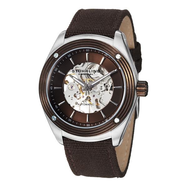 Stuhrling Original Men's Millennia Venture Automatic Brown Canvas Watch
