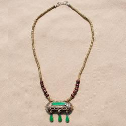 Hand-made Green Tawiz Pendant Necklace (Afghanistan)