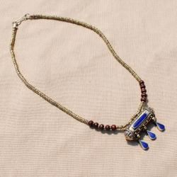 Hand-made Blue Tawiz Pendant Necklace (Afghanistan)