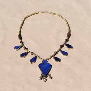 Hand-made Blue Lapis Lazuli Pendant Necklace (Afghanistan)