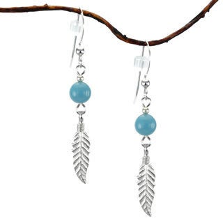 Turquoise With Feather Sterling Silver Earrings