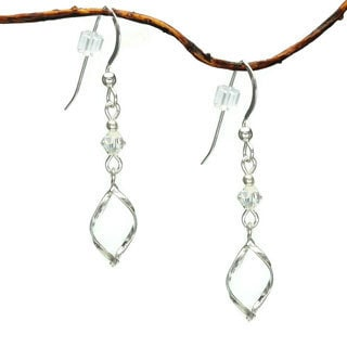Jewelry by Dawn Twist Marquis With Crystal Sterling Silver Earrings