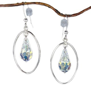 Jewelry by Dawn Oval Hoop Crystal Sterling Silver Earrings